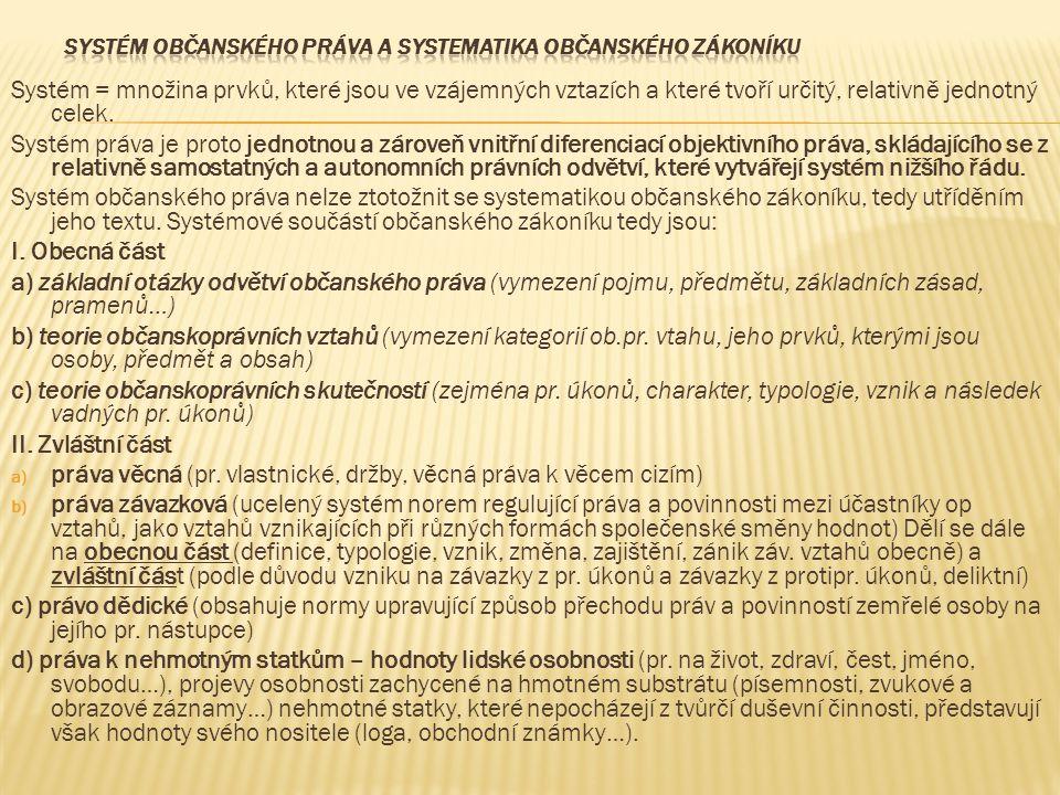 Systém = množina prvků, které jsou ve vzájemných vztazích a které tvoří určitý, relativně jednotný celek. Systém práva je proto jednotnou a zároveň vn