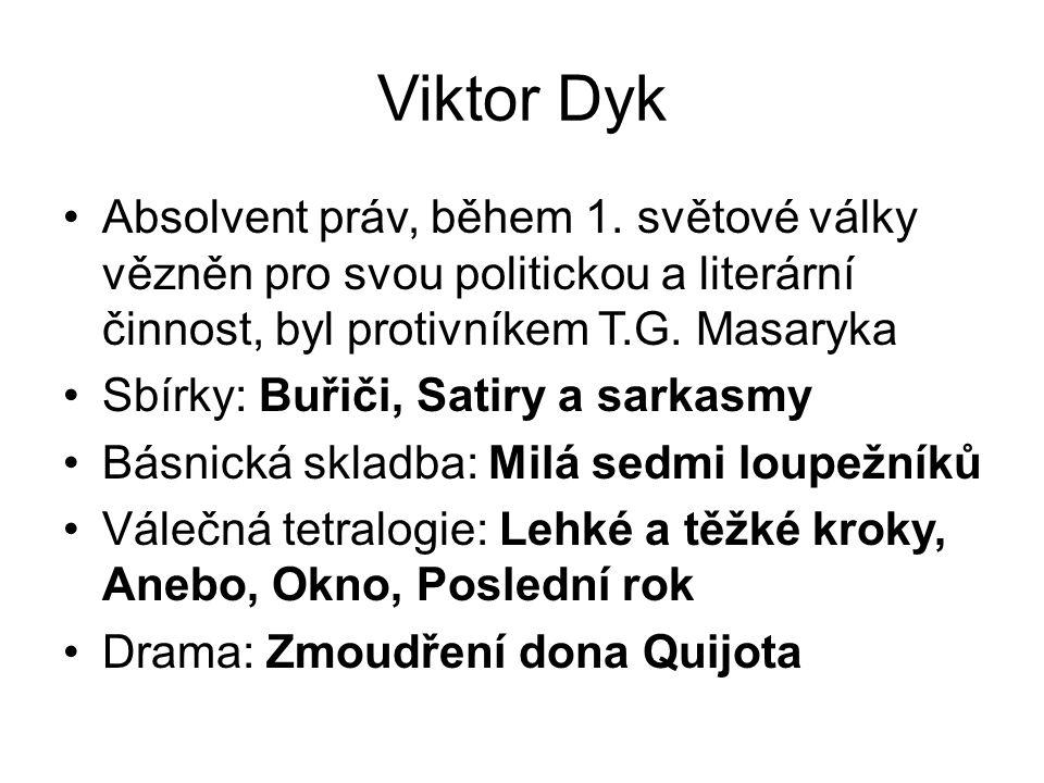 Viktor Dyk Absolvent práv, během 1.