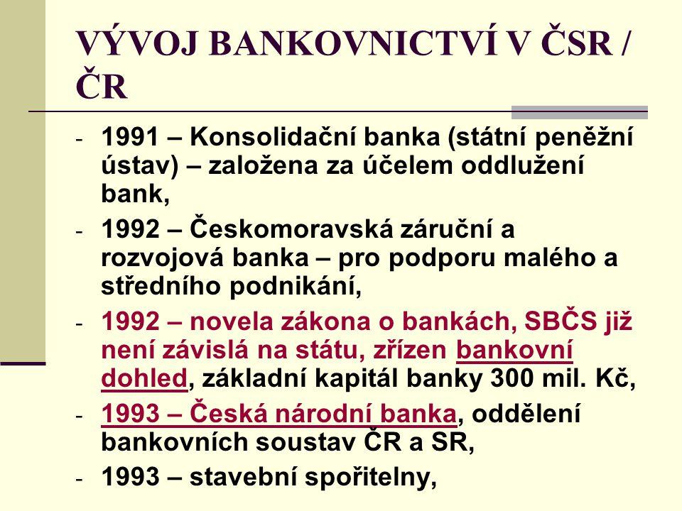 VÝVOJ BANKOVNICTVÍ V ČSR / ČR - 1991 – Konsolidační banka (státní peněžní ústav) – založena za účelem oddlužení bank, - 1992 – Českomoravská záruční a