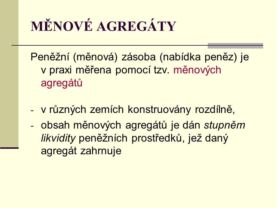 MĚNOVÉ AGREGÁTY Peněžní (měnová) zásoba (nabídka peněz) je v praxi měřena pomocí tzv. měnových agregátů - v různých zemích konstruovány rozdílně, - ob