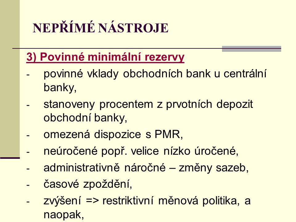NEPŘÍMÉ NÁSTROJE 3) Povinné minimální rezervy - povinné vklady obchodních bank u centrální banky, - stanoveny procentem z prvotních depozit obchodní b