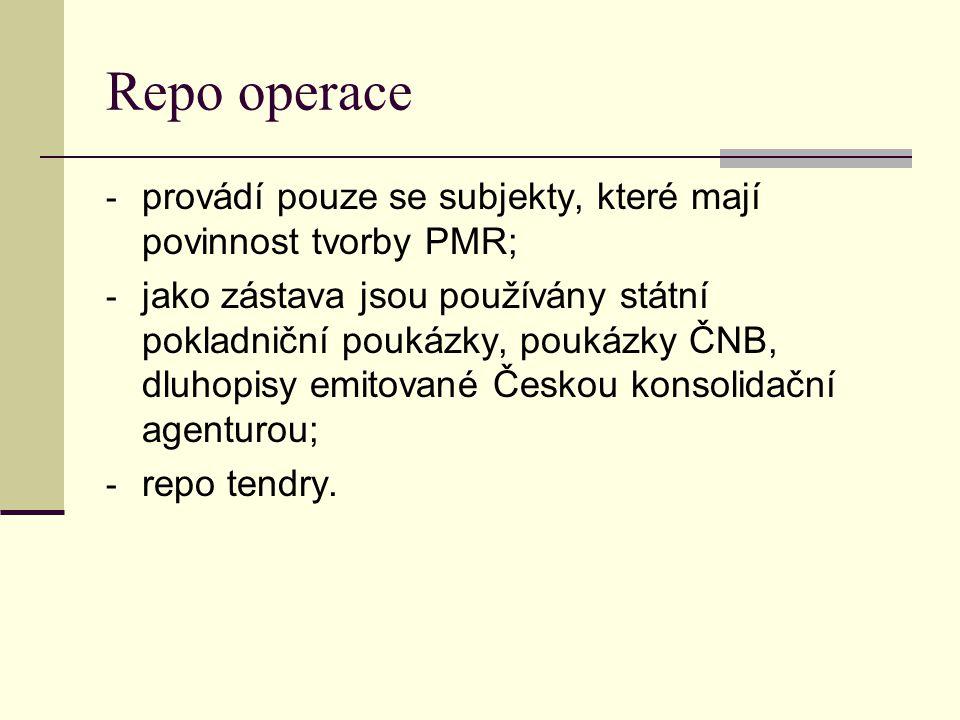 Repo operace - provádí pouze se subjekty, které mají povinnost tvorby PMR; - jako zástava jsou používány státní pokladniční poukázky, poukázky ČNB, dl