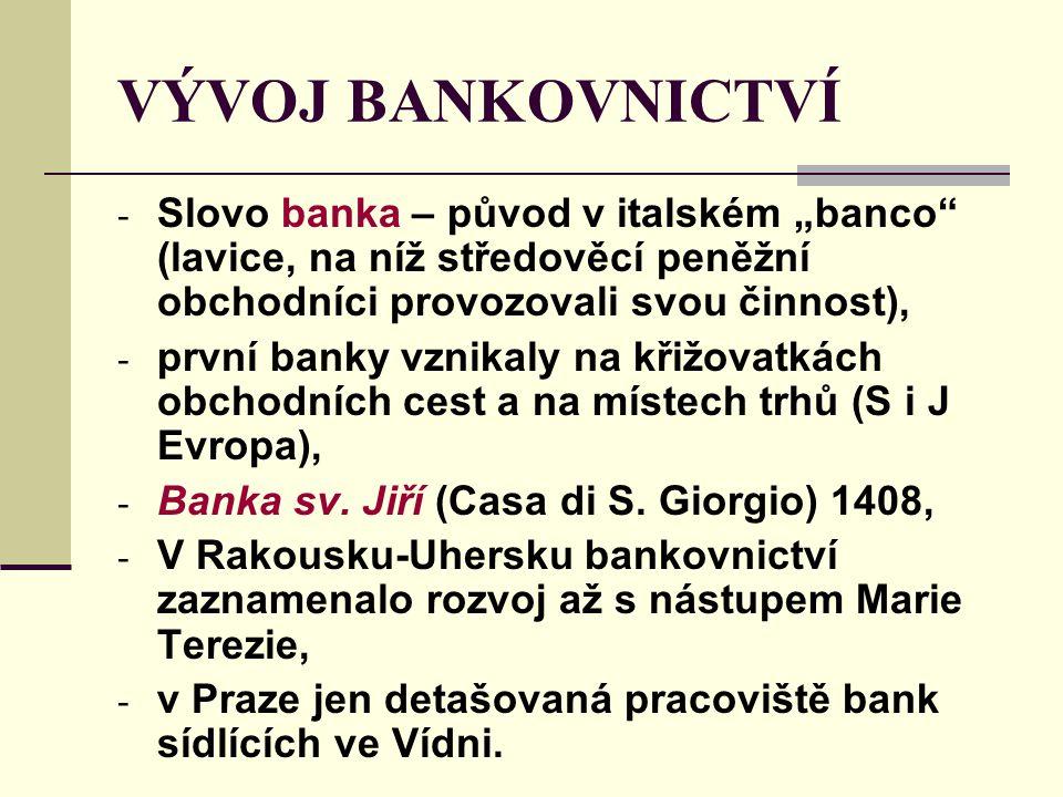 """VÝVOJ BANKOVNICTVÍ - Slovo banka – původ v italském """"banco"""" (lavice, na níž středověcí peněžní obchodníci provozovali svou činnost), - první banky vzn"""