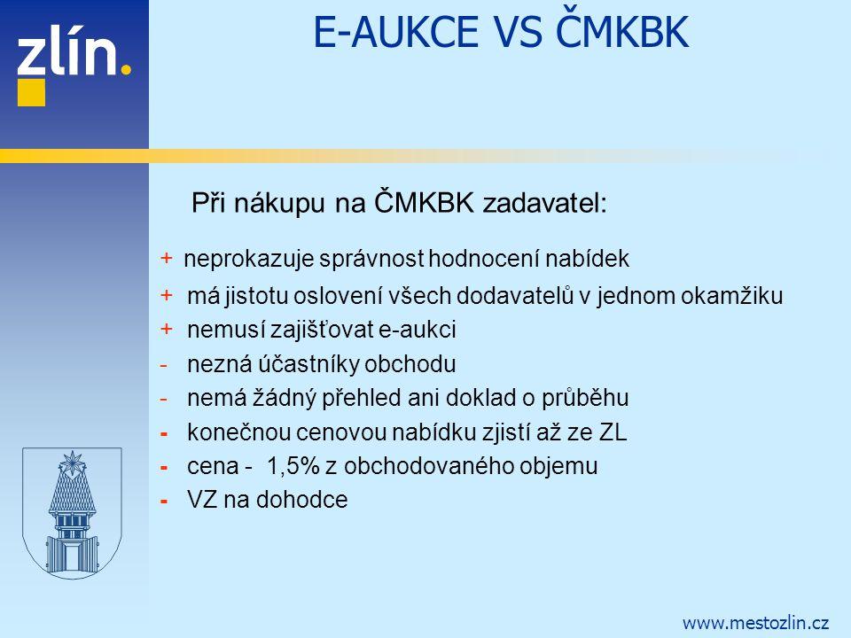 www.mestozlin.cz E-AUKCE VS ČMKBK Při nákupu na ČMKBK zadavatel: + neprokazuje správnost hodnocení nabídek + má jistotu oslovení všech dodavatelů v je