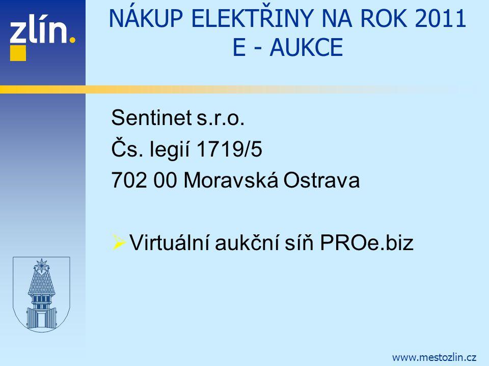 www.mestozlin.cz NÁKUP ELEKTŘINY NA ROK 2011 E - AUKCE Sentinet s.r.o. Čs. legií 1719/5 702 00 Moravská Ostrava  Virtuální aukční síň PROe.biz