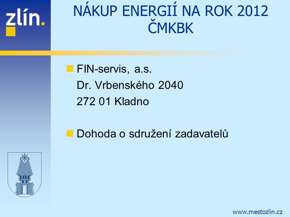 www.mestozlin.cz NÁKUP ENERGIÍ NA ROK 2012 ČMKBK FIN-servis, a.s. Dr. Vrbenského 2040 272 01 Kladno Dohoda o sdružení zadavatelů