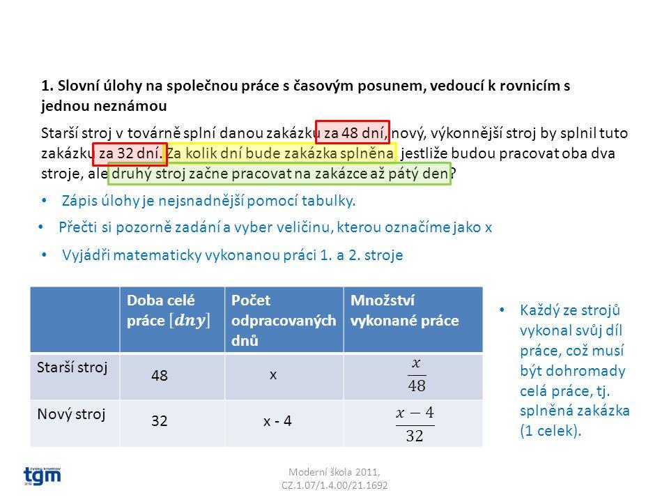 Moderní škola 2011, CZ.1.07/1.4.00/21.1692 Starší stroj v továrně splní danou zakázku za 48 dní, nový, výkonnější stroj by splnil tuto zakázku za 32 d