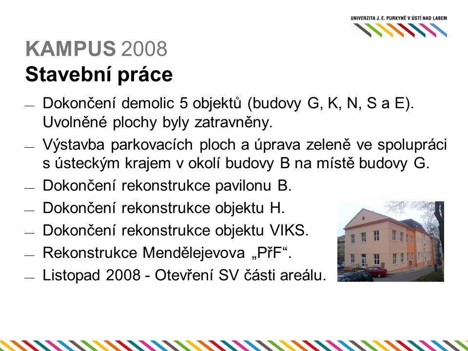 KAMPUS 2008 Stavební práce  Dokončení demolic 5 objektů (budovy G, K, N, S a E).