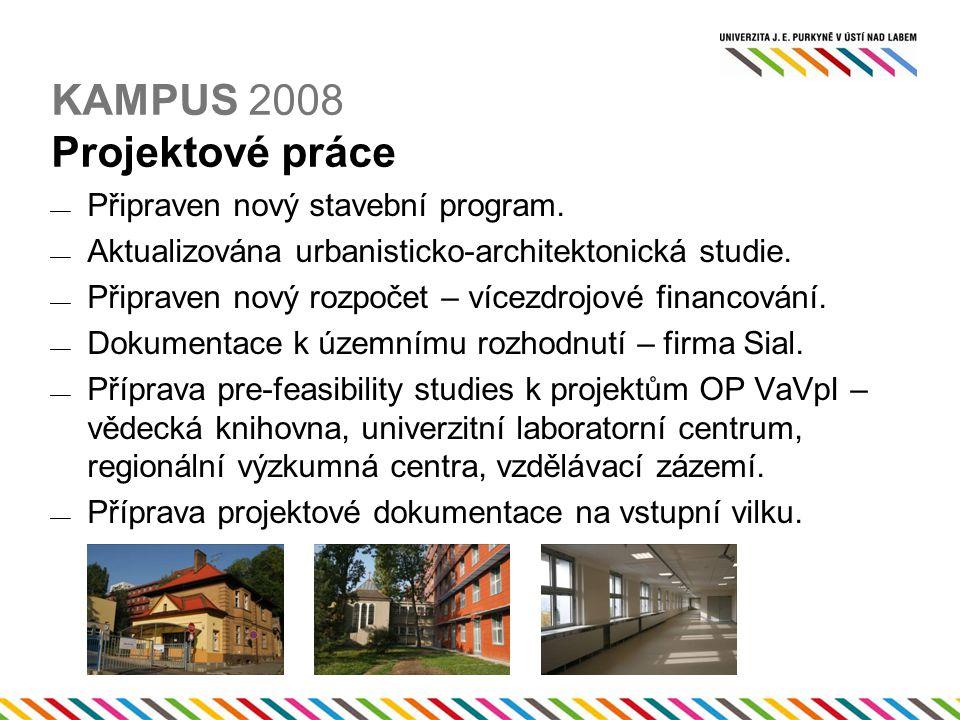 KAMPUS 2008 Projektové práce  Připraven nový stavební program.