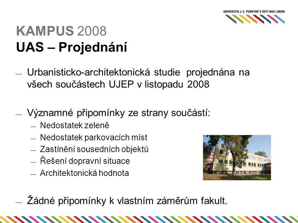 KAMPUS 2008 UAS – Projednání  Urbanisticko-architektonická studie projednána na všech součástech UJEP v listopadu 2008  Významné připomínky ze strany součástí:  Nedostatek zeleně  Nedostatek parkovacích míst  Zastínění sousedních objektů  Řešení dopravní situace  Architektonická hodnota  Žádné připomínky k vlastním záměrům fakult.