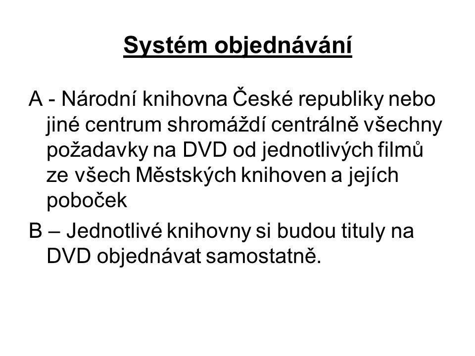 Systém objednávání A - Národní knihovna České republiky nebo jiné centrum shromáždí centrálně všechny požadavky na DVD od jednotlivých filmů ze všech Městských knihoven a jejích poboček B – Jednotlivé knihovny si budou tituly na DVD objednávat samostatně.