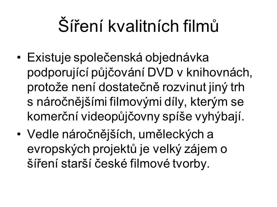 Šíření kvalitních filmů Existuje společenská objednávka podporující půjčování DVD v knihovnách, protože není dostatečně rozvinut jiný trh s náročnějšími filmovými díly, kterým se komerční videopůjčovny spíše vyhýbají.