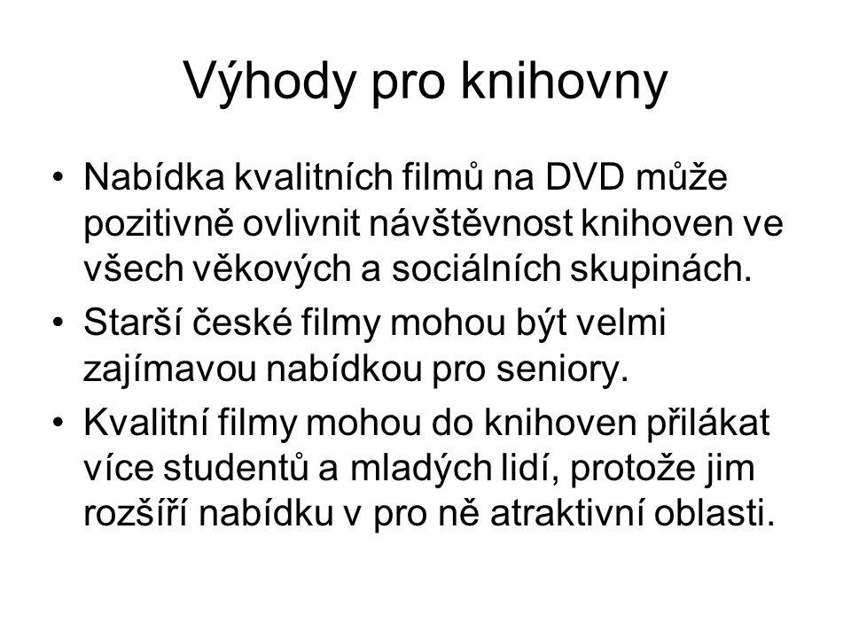 Výhody pro knihovny Nabídka kvalitních filmů na DVD může pozitivně ovlivnit návštěvnost knihoven ve všech věkových a sociálních skupinách.