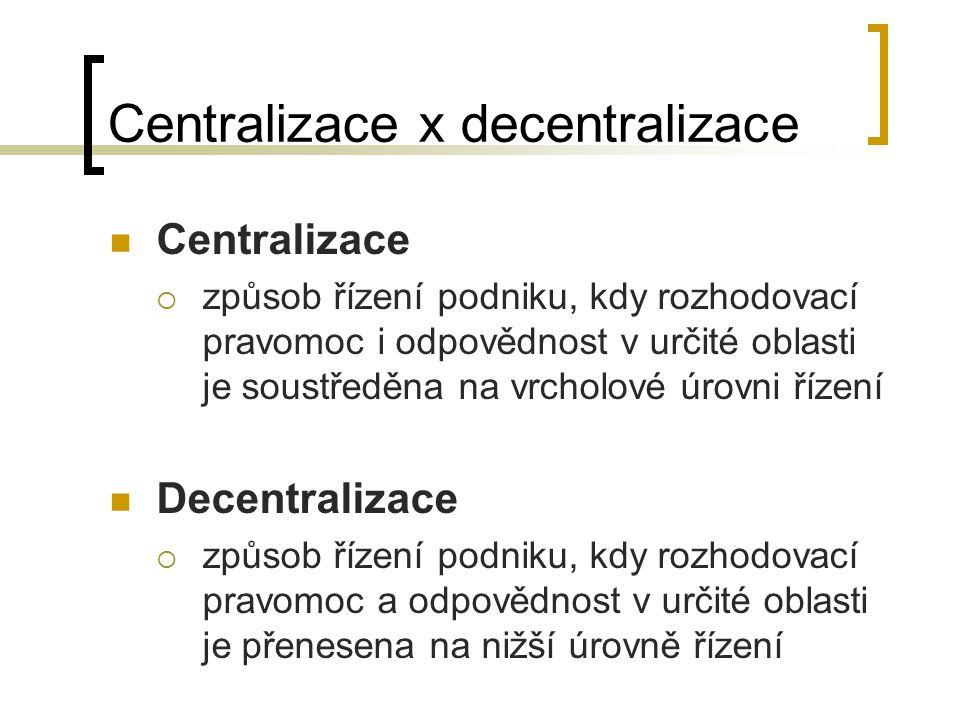 Centralizace x decentralizace Centralizace  způsob řízení podniku, kdy rozhodovací pravomoc i odpovědnost v určité oblasti je soustředěna na vrcholov