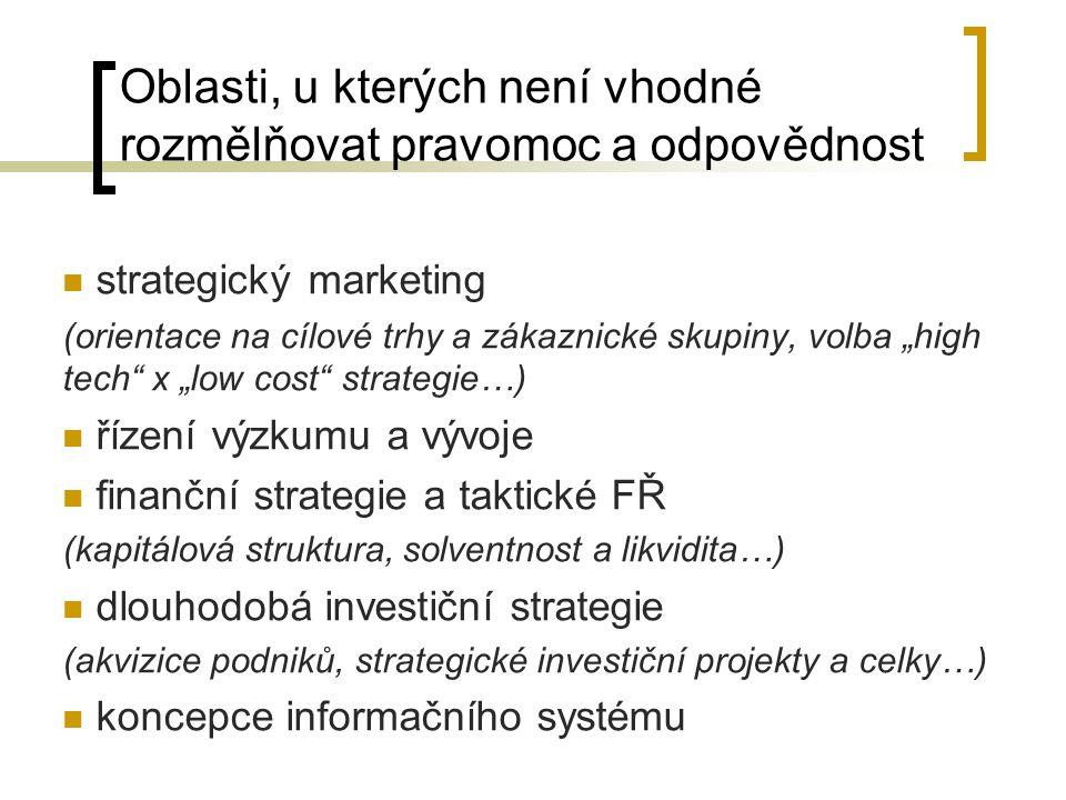 """Oblasti, u kterých není vhodné rozmělňovat pravomoc a odpovědnost strategický marketing (orientace na cílové trhy a zákaznické skupiny, volba """"high te"""