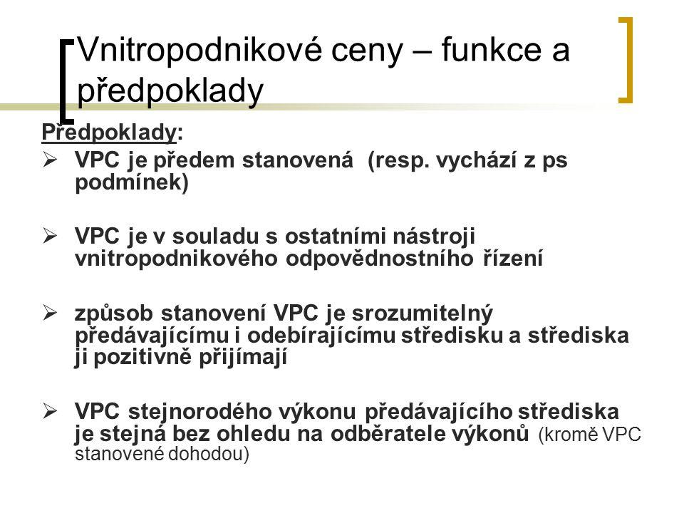 Vnitropodnikové ceny – funkce a předpoklady Předpoklady:  VPC je předem stanovená (resp. vychází z ps podmínek)  VPC je v souladu s ostatními nástro