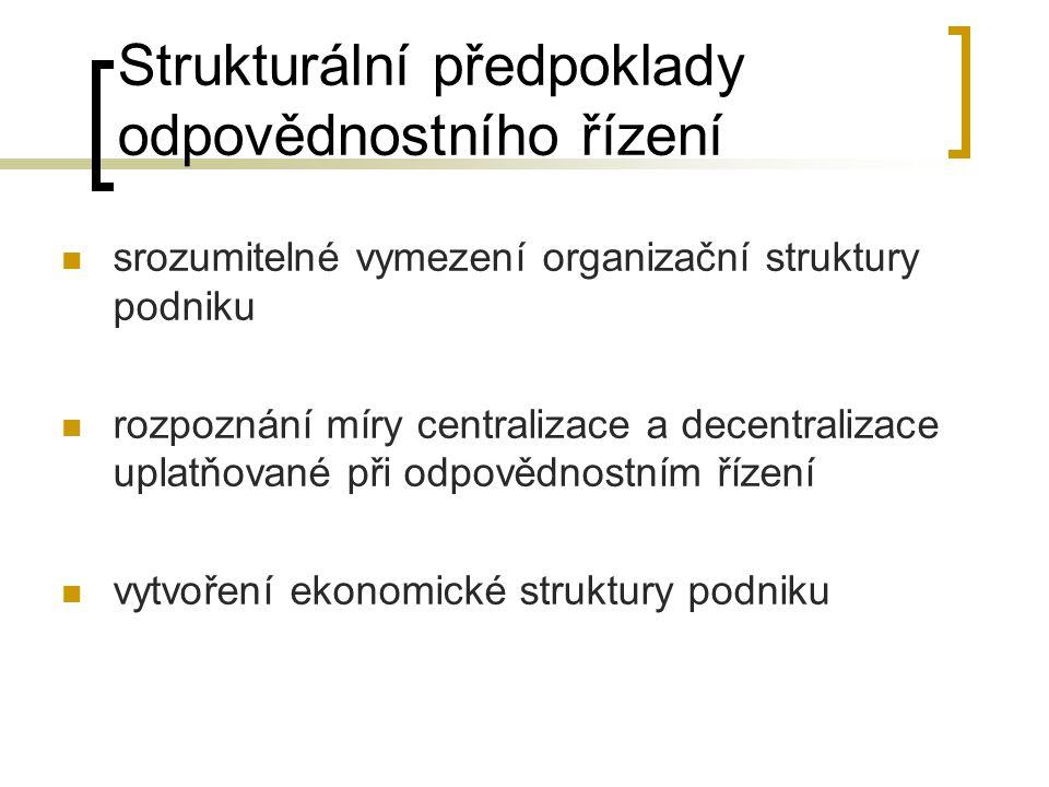 Strukturální předpoklady odpovědnostního řízení srozumitelné vymezení organizační struktury podniku rozpoznání míry centralizace a decentralizace upla