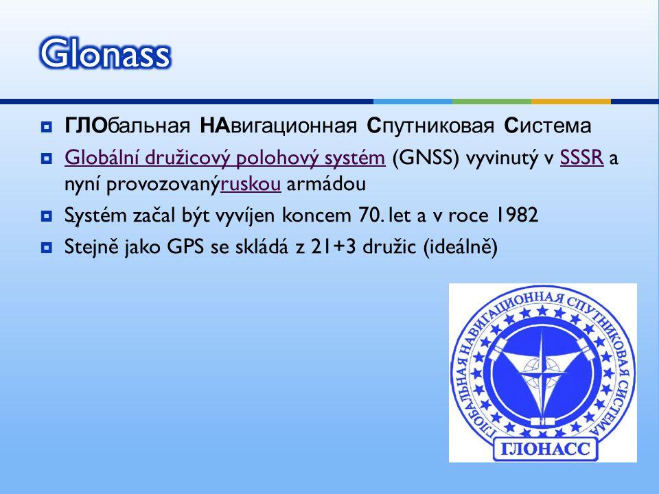 ГЛОбальная НАвигационная Спутниковая Система  Globální družicový polohový systém (GNSS) vyvinutý v SSSR a nyní provozovanýruskou armádou Globální družicový polohový systémSSSRruskou  Systém začal být vyvíjen koncem 70.