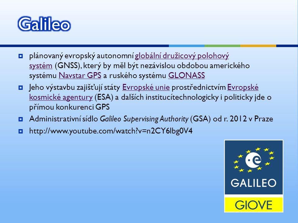 plánovaný evropský autonomní globální družicový polohový systém (GNSS), který by měl být nezávislou obdobou amerického systému Navstar GPS a ruského systému GLONASSglobální družicový polohový systémNavstar GPSGLONASS  Jeho výstavbu zajišťují státy Evropské unie prostřednictvím Evropské kosmické agentury (ESA) a dalších institucítechnologicky i politicky jde o přímou konkurenci GPSEvropské unieEvropské kosmické agentury  Administrativní sídlo Galileo Supervising Authority (GSA) od r.