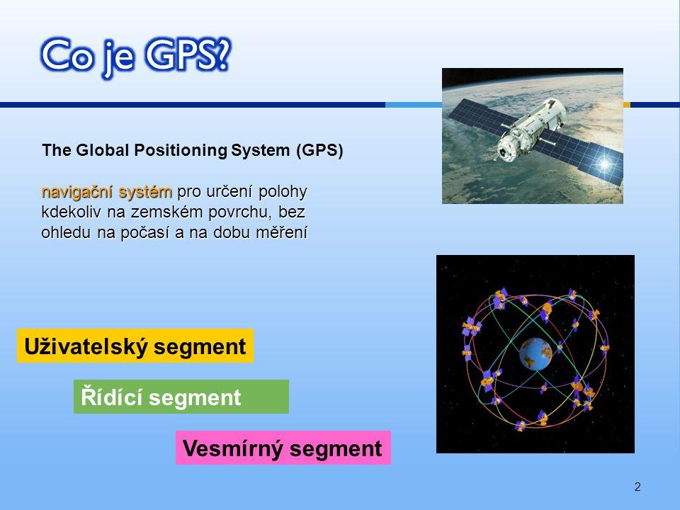 2 The Global Positioning System (GPS) navigační systém pro určení polohy kdekoliv na zemském povrchu, bez ohledu na počasí a na dobu měření Řídící segment Vesmírný segment Uživatelský segment