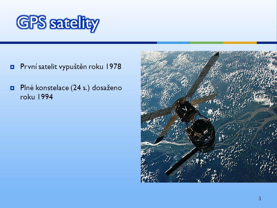 3  První satelit vypuštěn roku 1978  Plné konstelace (24 s.) dosaženo roku 1994