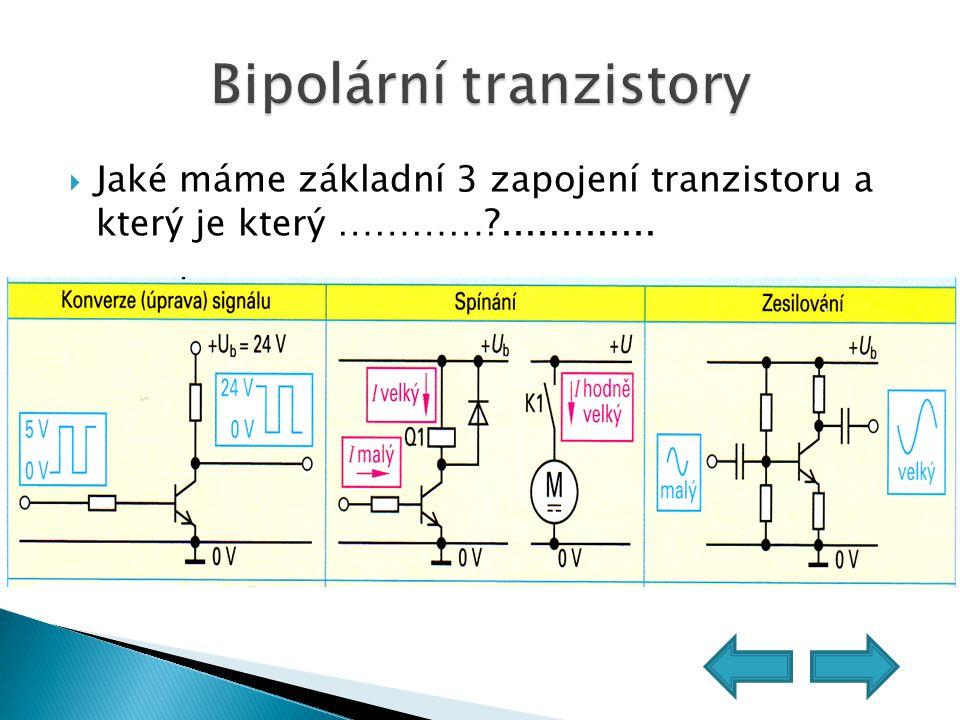 Jaké máme základní 3 zapojení tranzistoru a který je který …………?.............