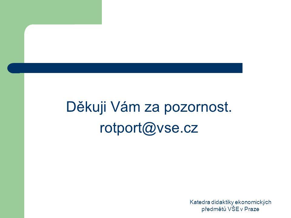 Katedra didaktiky ekonomických předmětů VŠE v Praze Děkuji Vám za pozornost. rotport@vse.cz