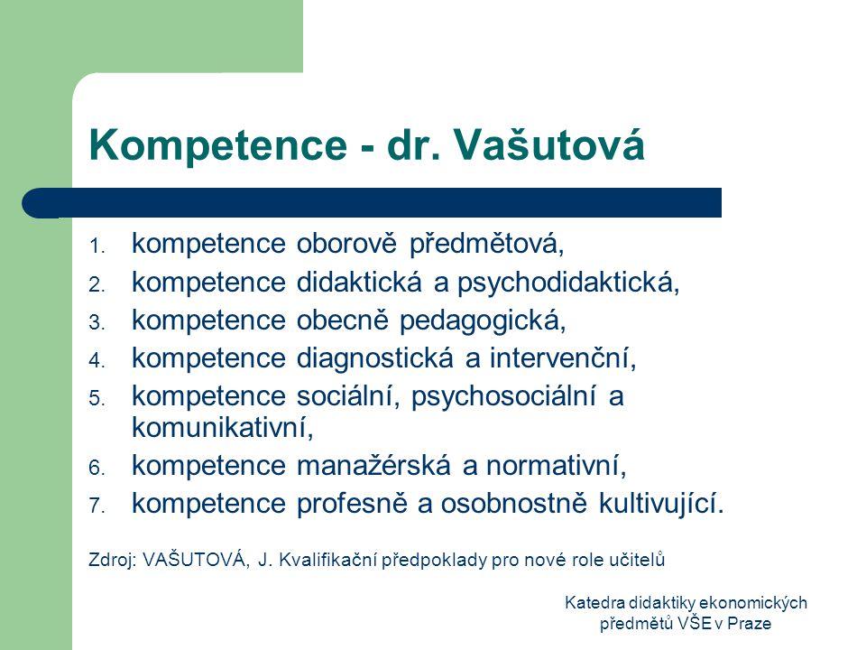 Katedra didaktiky ekonomických předmětů VŠE v Praze Kompetence - dr.