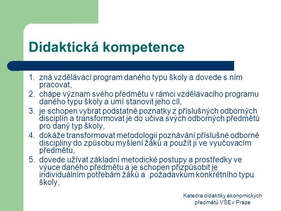 Katedra didaktiky ekonomických předmětů VŠE v Praze Didaktická kompetence 1.zná vzdělávací program daného typu školy a dovede s ním pracovat, 2.chápe význam svého předmětu v rámci vzdělávacího programu daného typu školy a umí stanovit jeho cíl, 3.je schopen vybrat podstatné poznatky z příslušných odborných disciplín a transformovat je do učiva svých odborných předmětů pro daný typ školy, 4.dokáže transformovat metodologii poznávání příslušné odborné discipliny do způsobu myšlení žáků a použít ji ve vyučovacím předmětu, 5.dovede užívat základní metodické postupy a prostředky ve výuce daného předmětu a je schopen přizpůsobit je individuálním potřebám žáků a požadavkům konkrétního typu školy,