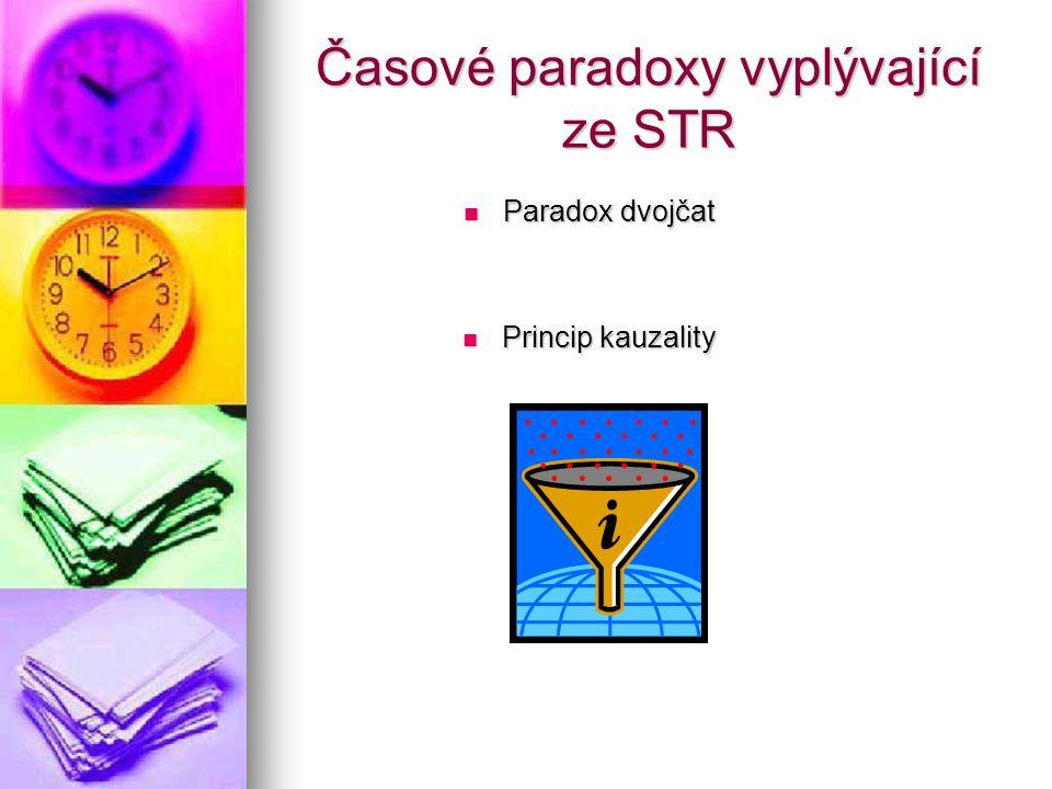 Časové paradoxy vyplývající ze STR Paradox dvojčat Paradox dvojčat Princip kauzality Princip kauzality