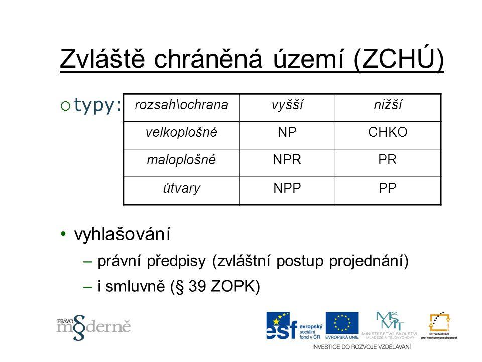 Zvláště chráněná území (ZCHÚ)  typy: rozsah\ochranavyššínižší velkoplošnéNPCHKO maloplošnéNPRPR útvaryNPPPP vyhlašování –právní předpisy (zvláštní po