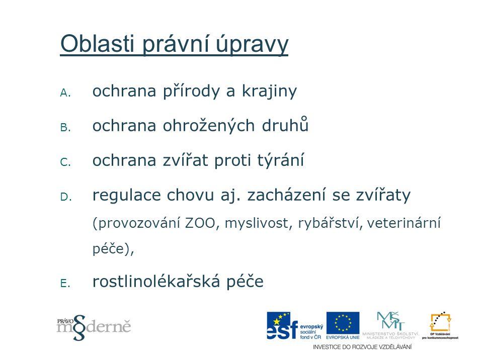 Oblasti právní úpravy A. ochrana přírody a krajiny B. ochrana ohrožených druhů C. ochrana zvířat proti týrání D. regulace chovu aj. zacházení se zvířa
