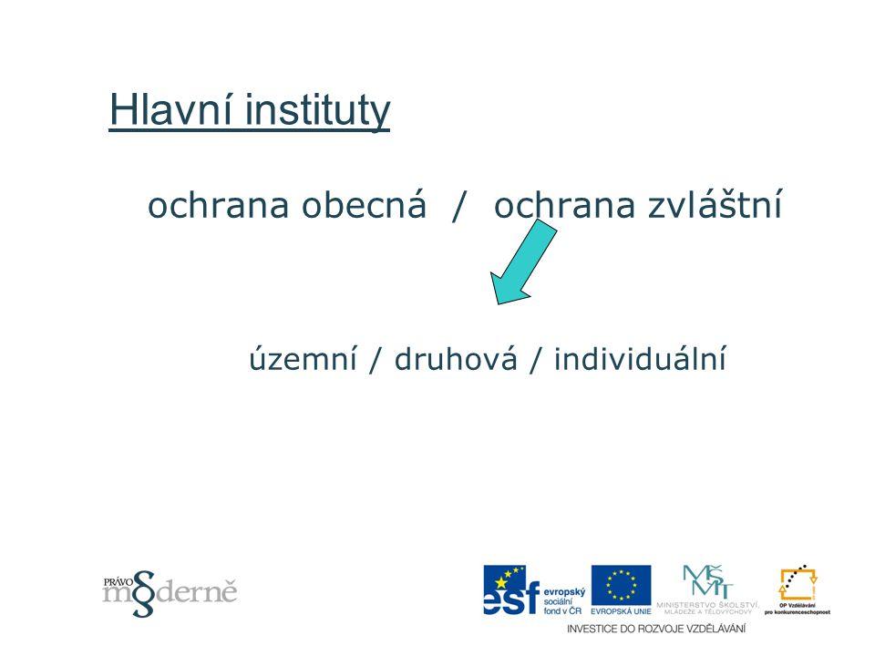 Hlavní instituty ochrana obecná / ochrana zvláštní územní / druhová / individuální