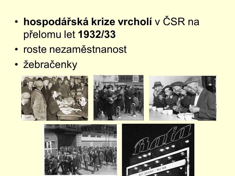 hospodářská krize vrcholí v ČSR na přelomu let 1932/33 roste nezaměstnanost žebračenky