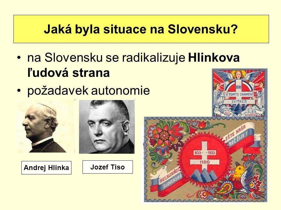 na Slovensku se radikalizuje Hlinkova ľudová strana požadavek autonomie Jaká byla situace na Slovensku? Andrej Hlinka Jozef Tiso
