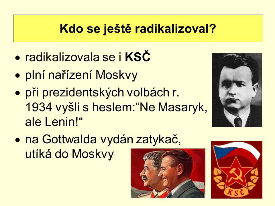 """ radikalizovala se i KSČ  plní nařízení Moskvy  při prezidentských volbách r. 1934 vyšli s heslem:""""Ne Masaryk, ale Lenin!""""  na Gottwalda vydán zat"""