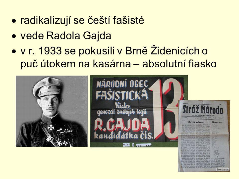  radikalizují se čeští fašisté  vede Radola Gajda  v r. 1933 se pokusili v Brně Židenicích o puč útokem na kasárna – absolutní fiasko