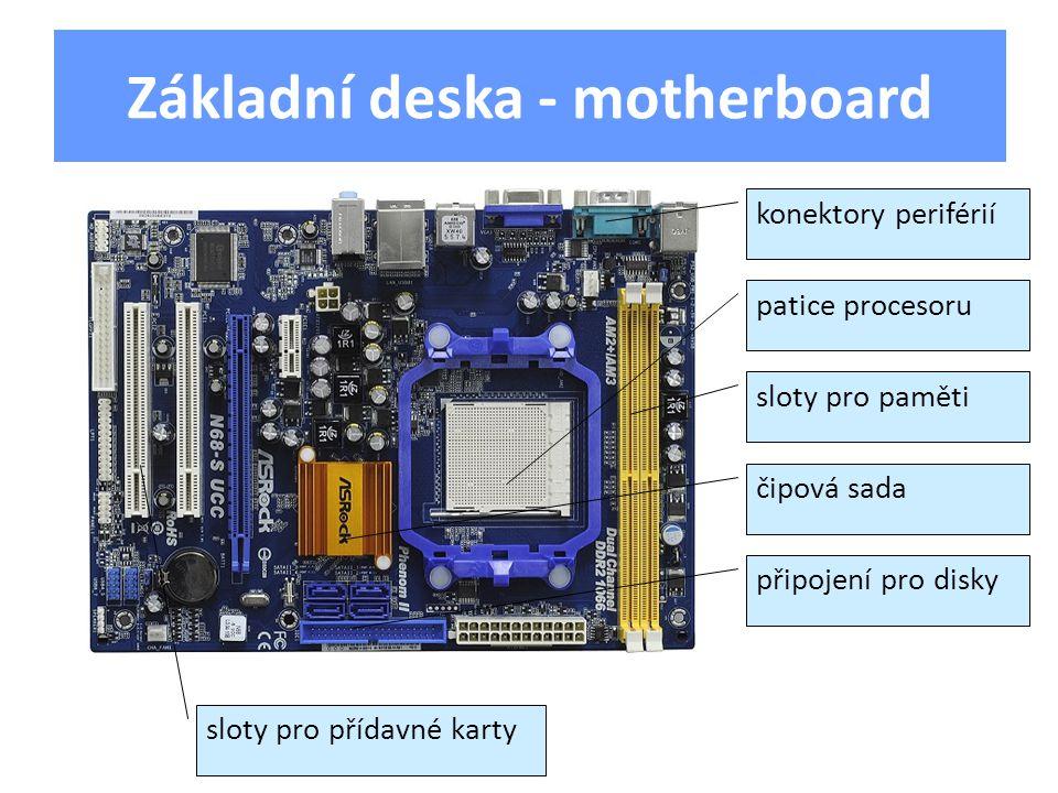 konektory periférií patice procesoru sloty pro paměti čipová sada připojení pro disky sloty pro přídavné karty