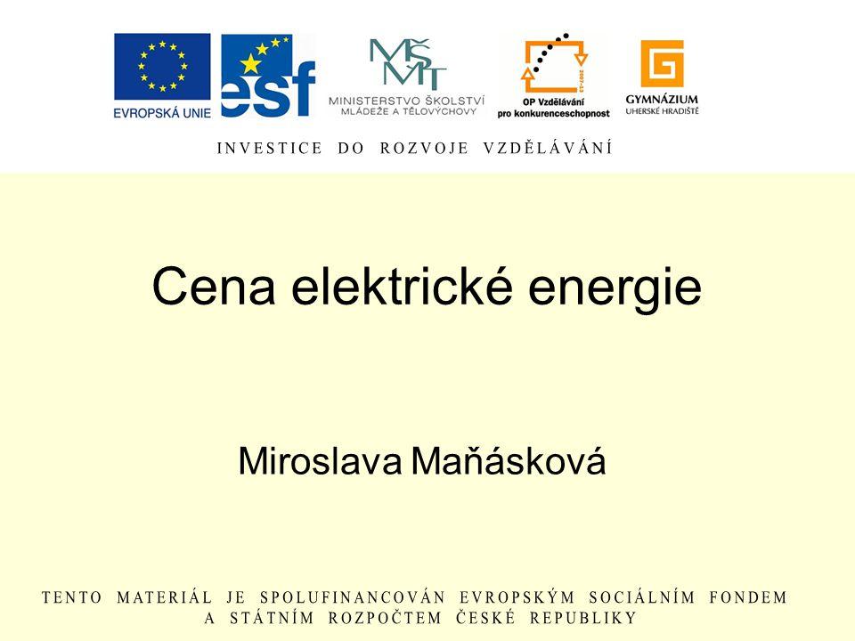 Cena elektrické energie Miroslava Maňásková