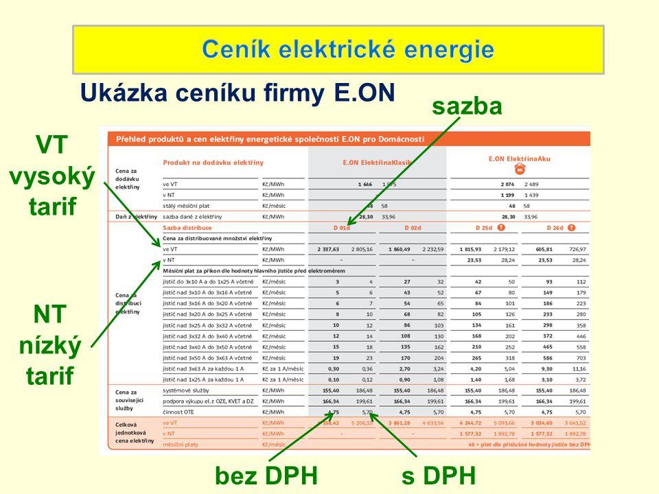 Ukázka ceníku firmy E.ON sazba bez DPHs DPH VT vysoký tarif NT nízký tarif