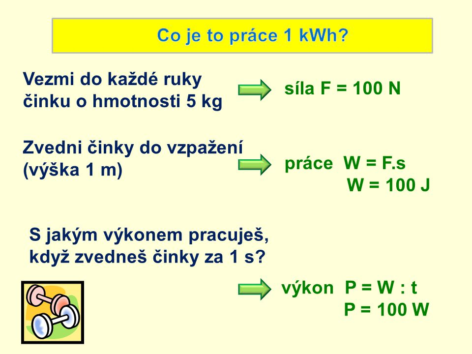 Vezmi do každé ruky činku o hmotnosti 5 kg síla F = 100 N práce W = F.s W = 100 J Zvedni činky do vzpažení (výška 1 m) S jakým výkonem pracuješ, když