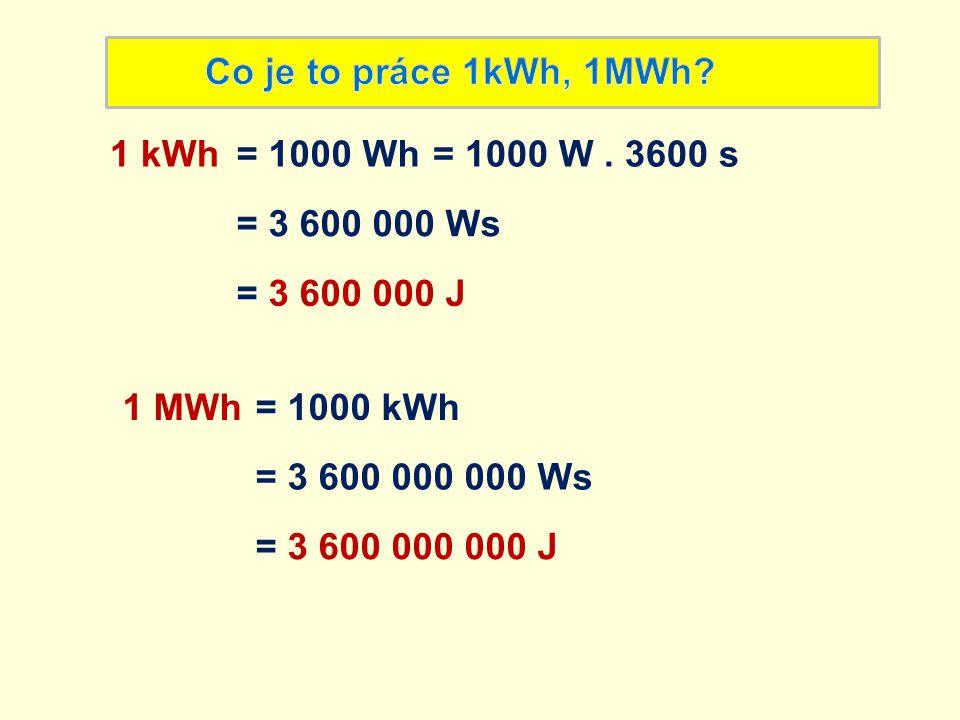1 kWh je práce, kterou vykonáme zvedáním činek: - do výšky 1 m - o hmotnosti 10 kg - po dobu 10 hodin Kolik zaplatíme za energii 1kWh z elektrické sítě?