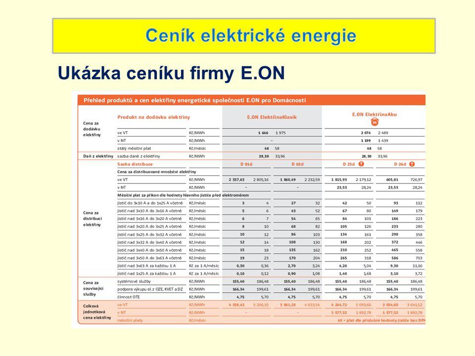 Celkovou cenu za elektřinu tvoří: Cena za dodávku elektřiny Cena za distribuci elektřiny - stálý měsíční plat (bez ohledu na jistič) - cena za odebrané množství elektřiny (za MWh) - měsíční plat za příkon (podle hodnoty hlavního jističe před elektroměrem) - cena za distribuované množství elektřiny (za MWh) - cena za související služby - daň z elektřiny
