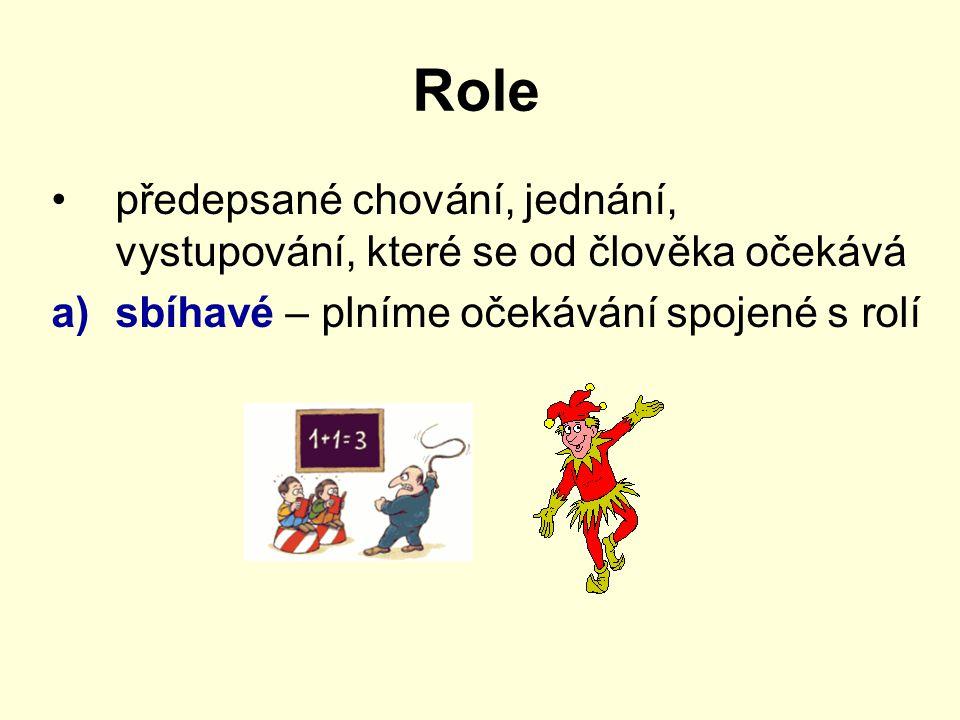Role předepsané chování, jednání, vystupování, které se od člověka očekává a)sbíhavé – plníme očekávání spojené s rolí