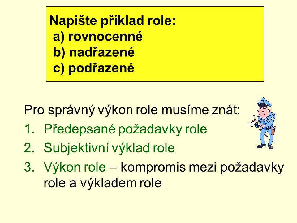 Pro správný výkon role musíme znát: 1.Předepsané požadavky role 2.Subjektivní výklad role 3.Výkon role – kompromis mezi požadavky role a výkladem role
