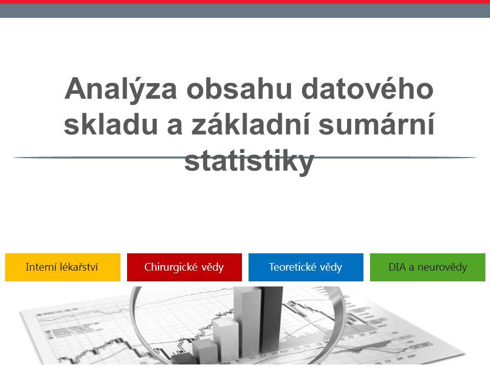 Interní lékařstvíChirurgické vědyTeoretické vědyDIA a neurovědy Analýza obsahu datového skladu a základní sumární statistiky