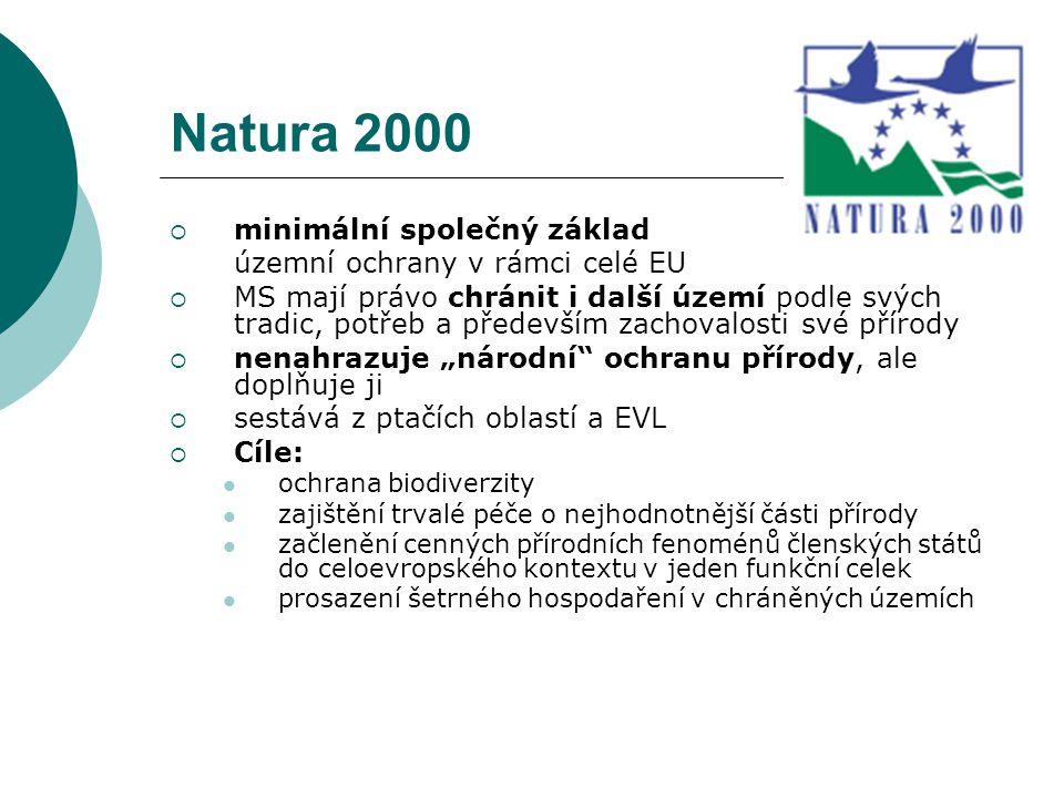 Natura 2000  minimální společný základ územní ochrany v rámci celé EU  MS mají právo chránit i další území podle svých tradic, potřeb a především za
