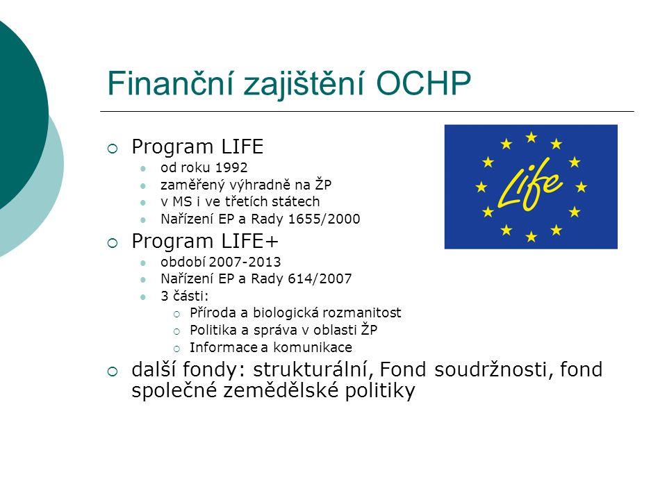 Finanční zajištění OCHP  Program LIFE od roku 1992 zaměřený výhradně na ŽP v MS i ve třetích státech Nařízení EP a Rady 1655/2000  Program LIFE+ obd