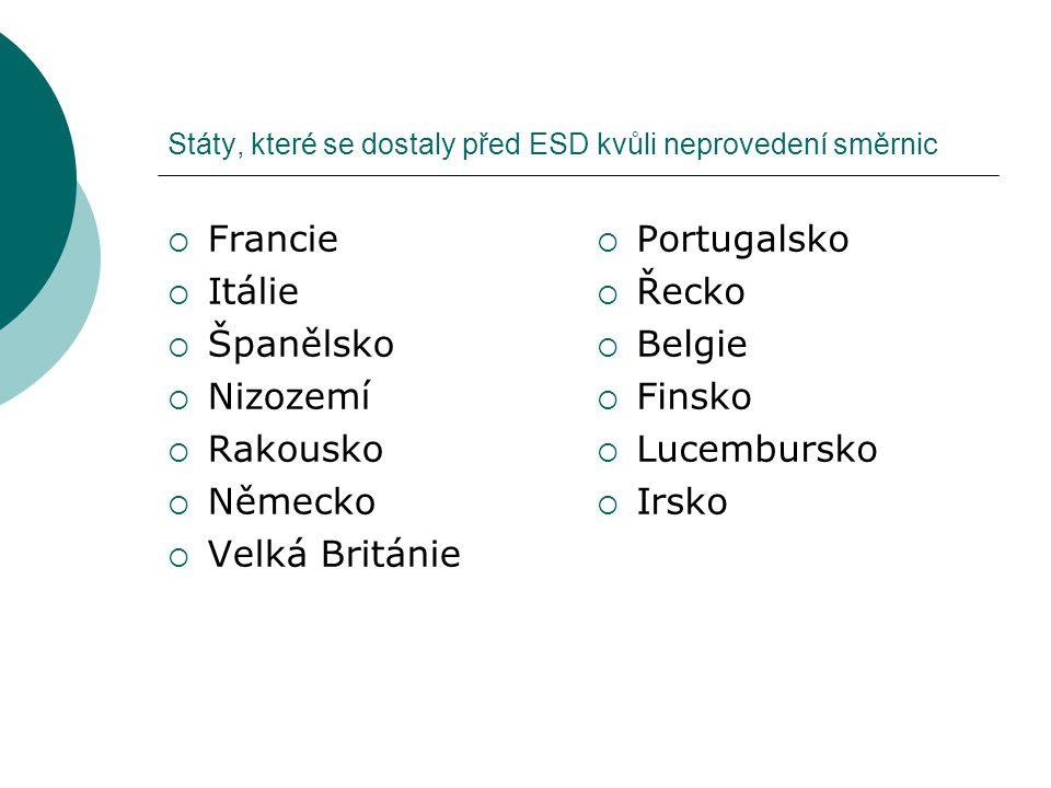Státy, které se dostaly před ESD kvůli neprovedení směrnic  Francie  Itálie  Španělsko  Nizozemí  Rakousko  Německo  Velká Británie  Portugals