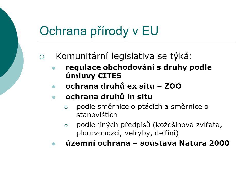Ochrana přírody v EU  Komunitární legislativa se týká: regulace obchodování s druhy podle úmluvy CITES ochrana druhů ex situ – ZOO ochrana druhů in s